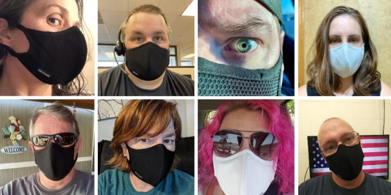 Halomask reviews from customers - Cutomers wear a face mask - black, white and blue halo facemask