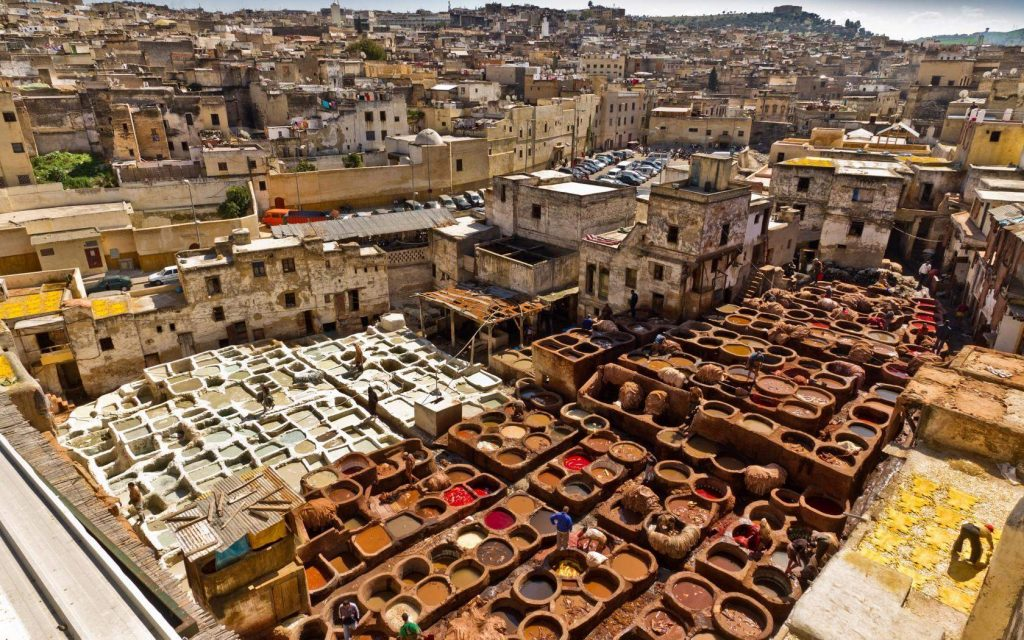 See the vibrant colors from the ancient tannery Chouwara, FEZ - Morocco