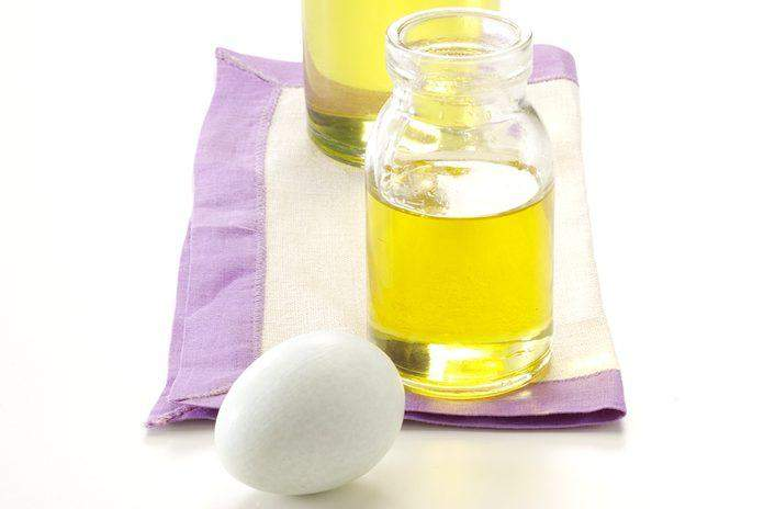 Facial skin care from egg white + olive oil mask